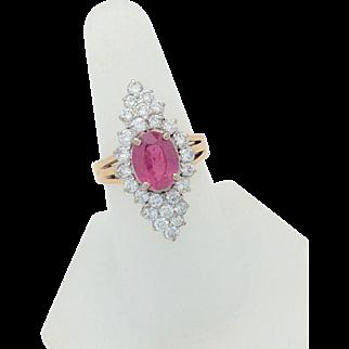Vintage 18k Yellow Gold 3.90ctw Pink Tourmaline & Diamond Cocktail Ladies Ring
