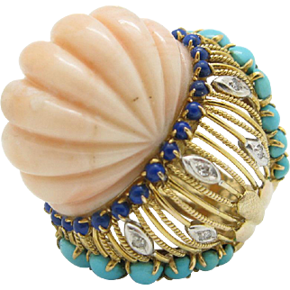 Vintage 18KYG Fluted Angel Skin Coral, Turquoise, Lapis, & Diamond Cocktail Ring