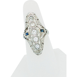 Vintage Art Deco 14k White Gold .85ctw Diamond & Sapphire Filigree Ladies Ring