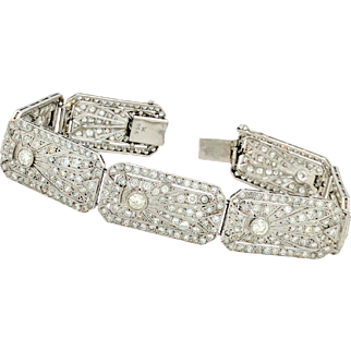 "Vintage Art Deco 7"" Platinum 8.68ctw Round Brilliant Cut Diamond Bracelet SI2,G"