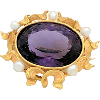 14 Karat Yellow Gold Amethyst and Seed Pearl Brooch Pin