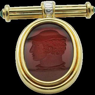 18 Karat Yellow Gold Intaglio Carnelian Emeralds & Diamonds Pin Brooch