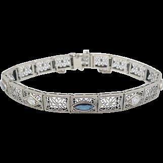 Art Deco 14 Karat White Gold Sapphire & Diamond Bracelet