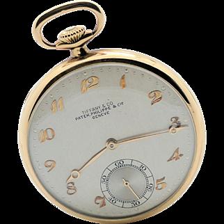 Patek Philippe 18k Yellow Gold Pocket Watch Signed Tiffany & Co. 1930's
