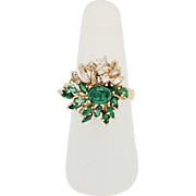 Estate 18 Karat Yellow Gold Emerald & Diamond Cocktail Ring