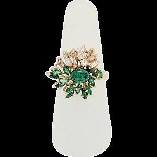 Estate 18 Karat Yellow Gold Emerald & Diamond Cocktail Ring