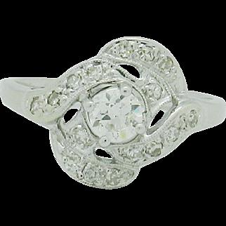Ladies 14 Karat White Gold Diamond Ring