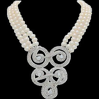 STUNNING Estate 14KWG Multi Strand 5mm Cultured Akoya Pearl Diamond Enhancer Necklace 5.00ctw