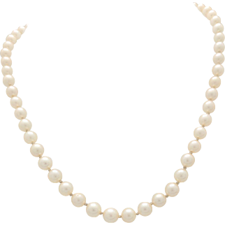 """14K White Gold 4mm-6mm Graduating Cultured Pearl Necklace 15"""""""