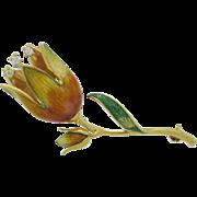 18 Karat Yellow Gold Enamel & Diamond Tulip Flower Brooch Pin