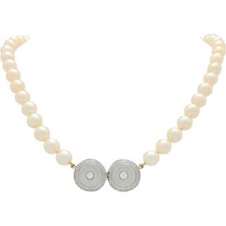 14k 2-Tone Gold 7mm Cultured Pearl Necklace with Custom Made Diamond Pendant
