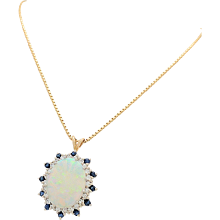 "Estate 14K Yellow Gold Australian Opal, Sapphire & Diamond Pendant Necklace 18"""