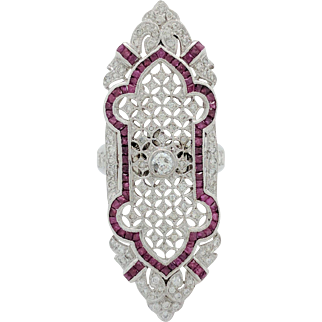 Ladies 18 Karat White Gold 5.6ctw Ruby & Diamond Filigree Brooch Ring