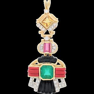 Custom 18K Yellow Gold Multi-Gemstone, Emerald & Diamond Pendant 22.4 Grams