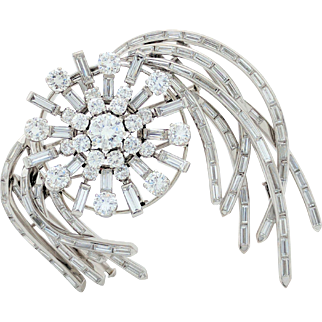 Vintage 18k White Gold 12.75tcw Brooch Pin 3-piece Very Unique and Beautiful