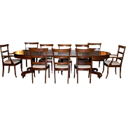 Dining Room Set | 10 pc 5 Leaves | 4 captain Chairs 6 Side Chairs | Marquetry | Castor Footings | Satin Finish