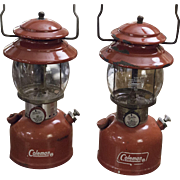 Vintage Coleman Lanterns | Red Camping Lantern | Out Doors Camp | Light
