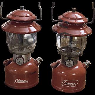 Vintage Coleman Lanterns   Red Camping Lantern   Out Doors Camp   Light