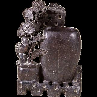 Vintage Carved Soap Stone Vase   Floral Motif   Brown Soap Stone   Mid Century