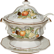 Ceramic Serving Dish | Fruit Motiff | Made in Japan | 3 pc Set | Soup Set Spoon