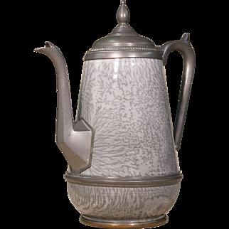 Gray Enamel Kettle   Vintage Tea Kettle   Metal and Enamel