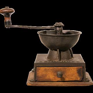 Antique Grinder   Iron Grinder with Wood Base