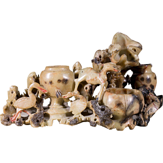 Vintage Carved Chinese Soap Stone   Animal Figurines Motif   Intricate Vessels