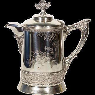Silver Tea Kettle   Vintage Tea Kettle   Metal and Enamel