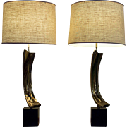 Gold Cast Arc Mid Century Modern Lamps | Black Base Vintage Lamps | Retro Lamps