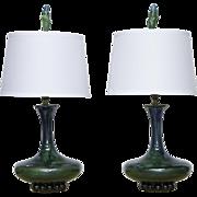 Pair Green Vintage Ceramic Lamps | MCM Drip Glazed Lamps | Emerald Green | Corn Tops