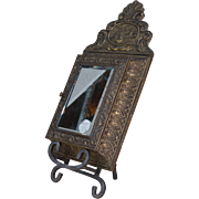 Antique Shoe Shine Kit | Mirror Wood | Gold Tin | Set of Two Brushes | Wood Case