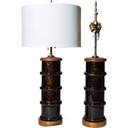 MCM pair of Glazed Lamps