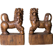 Fu Dogs Wooden Bookends | Large Foo Dogs | Asian Motiff Shu Dogs Wood Bookends | Hand Carved Shi Dogs