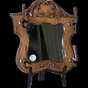 Wood Mirror   Oak Mirror with Coat Racks   Hat Rack Mirror