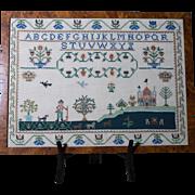 Cross Stitch Alphabet   Framed Folk Art