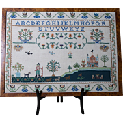 Cross Stitch Alphabet | Framed Folk Art