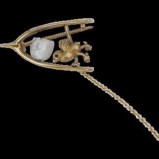 Victorian 9K Gold Chick, Egg & Wishbone Brooch