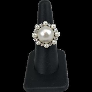 18k White Gold Mabe Pearl Diamond Ring