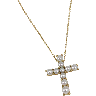 Mikimoto Cultured Pearl Cross Necklace