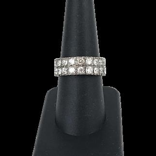 18ct. White Gold Vintage Diamond Two-Row Ring