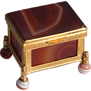 Antique Footed Agate Box With Gilt Bronze Mounts