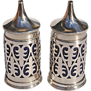 Elkington And Company Sterling Silver Salt And Pepper Shakers With Cobalt Porcelain Inserts, Circa 1925