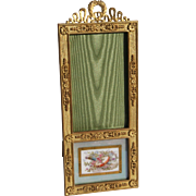 "19th Century French Gilt Bronze ""Screen"" Picture Frame With Easel Back And Painted Sevres Panel Insert."