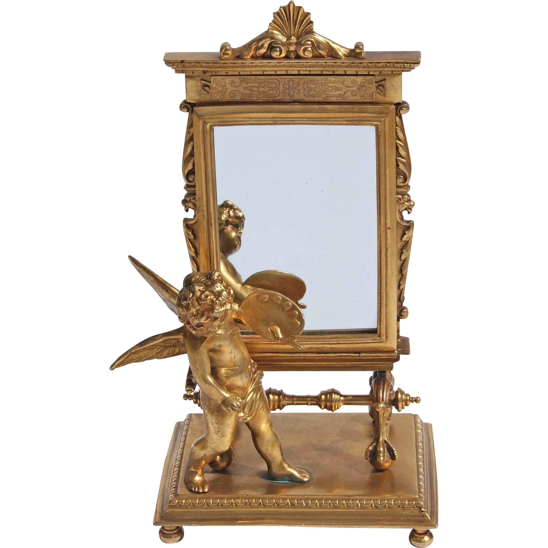 French Gold Over Bronze Putti Vanity Mirror In Greek Revival Style