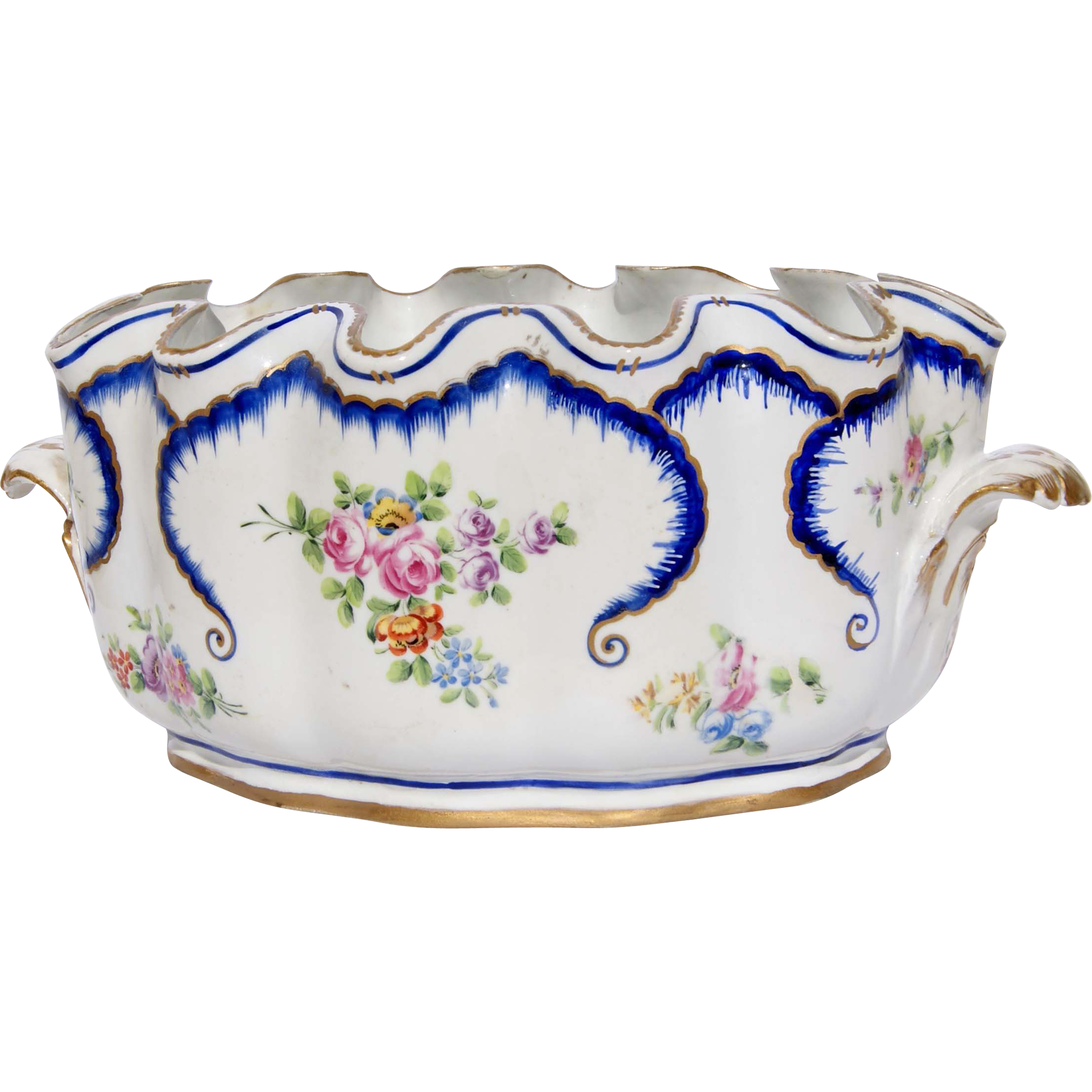 19th Century French Porcelain Scalloped Edged Bowl from
