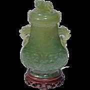 19th Century Covered Serpentine Jade Vase