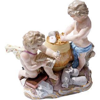 19th Century Meissen Porcelain Grouping Of Two Putti
