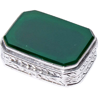 Table Box Of Green Onyx And Continental Silver In Elongated Octagon Form