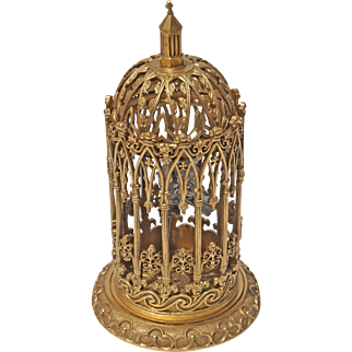 Gothic Revival Gilt Bronze Bird Cage