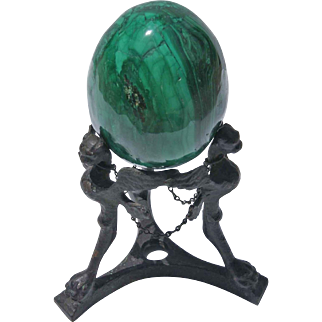 Malachite Egg With Italian Bronze Late 19th Century Pompeii Revival Tripod Plinth